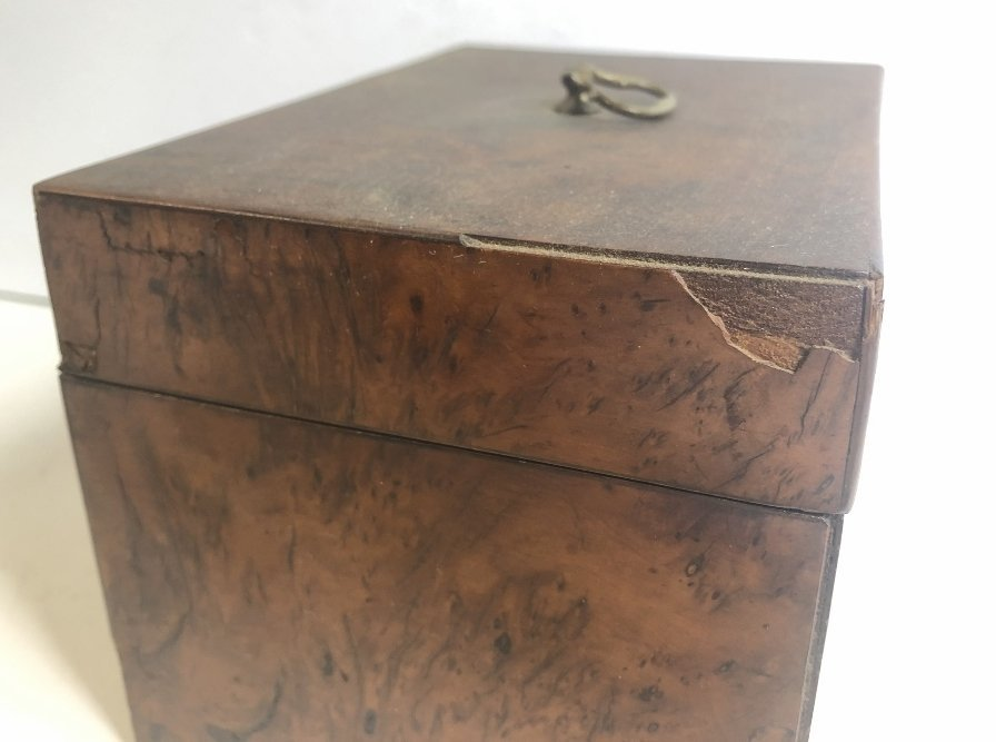 Old wood tea caddy,c.1870 - 4
