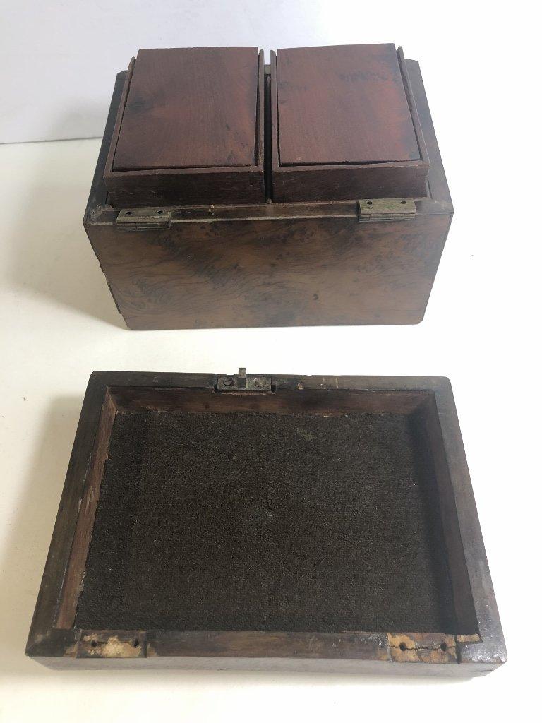 Old wood tea caddy,c.1870 - 6