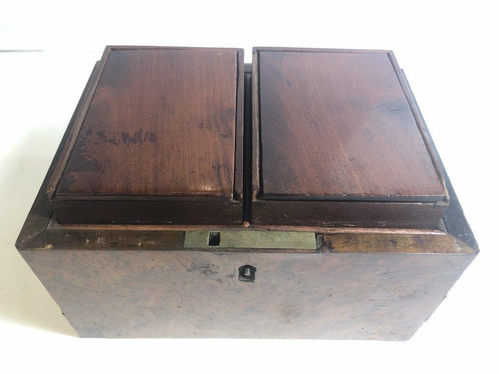 Old wood tea caddy,c.1870 - 7