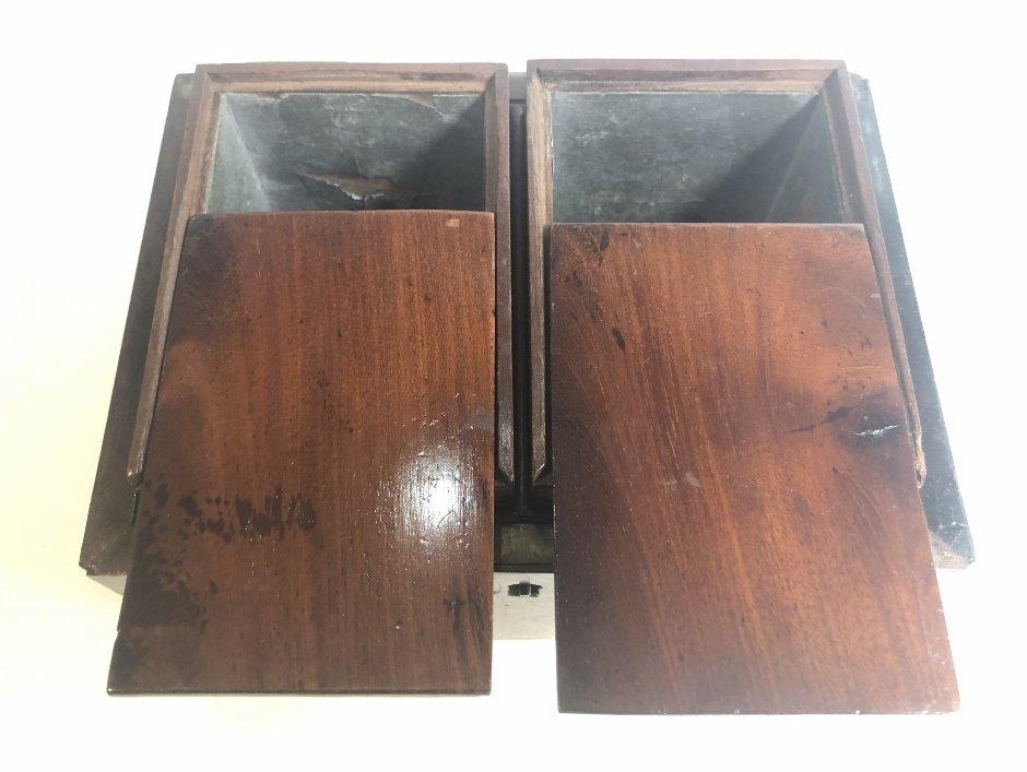 Old wood tea caddy,c.1870 - 8