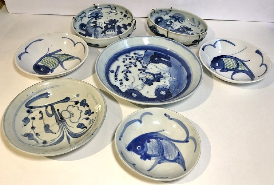 Blue and white Asian dishes,c.1930