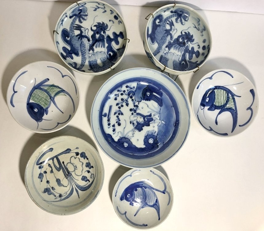 Blue and white Asian dishes,c.1930 - 2