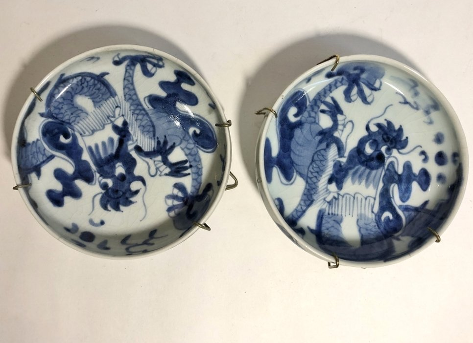 Blue and white Asian dishes,c.1930 - 8