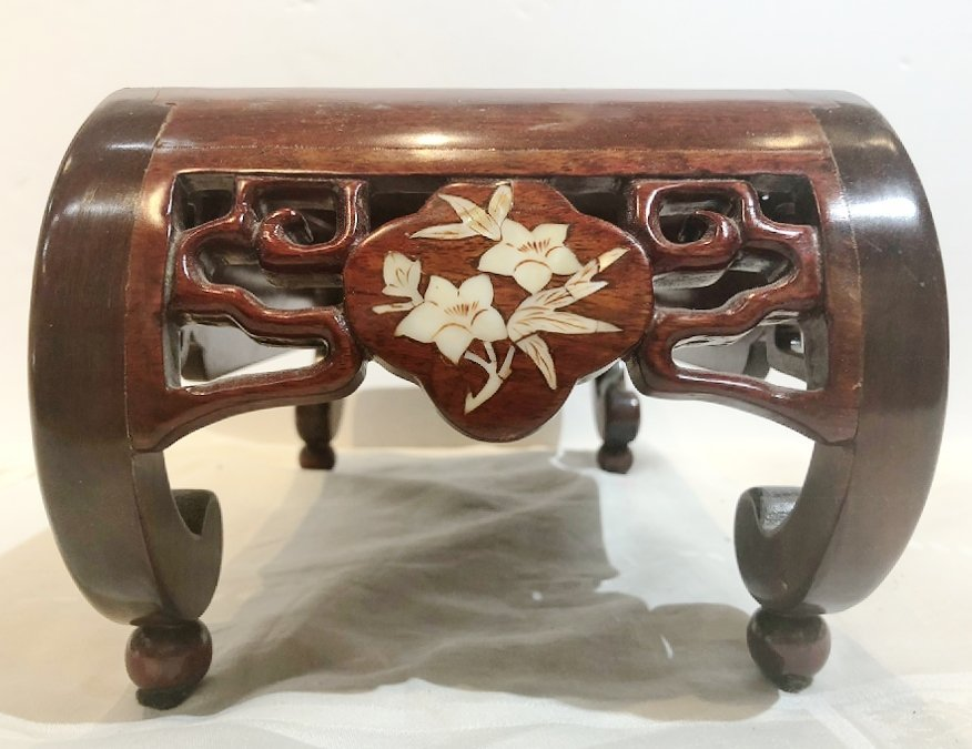 Chinese wood stand with mother of pearl inlay,c.1985 - 2