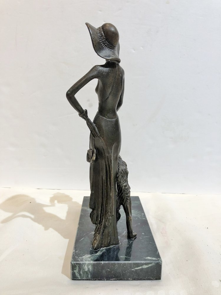Art deco style bronze, woman with dog, c.1965 - 4