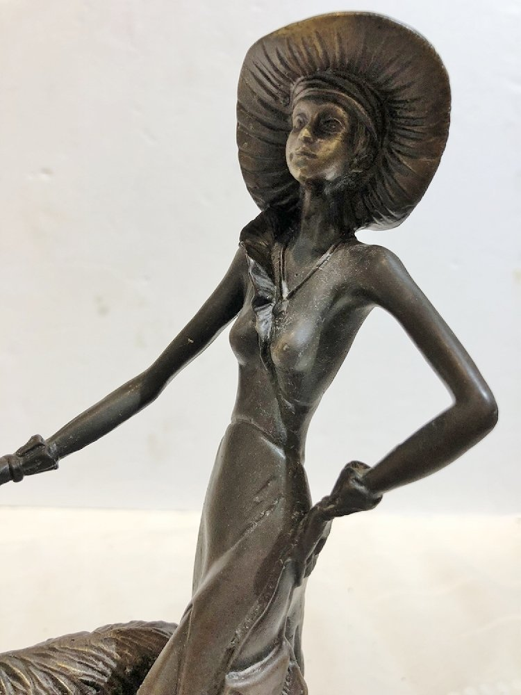 Art deco style bronze, woman with dog, c.1965 - 5