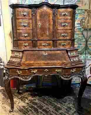 Large German Rococo secretary desk, c.1750
