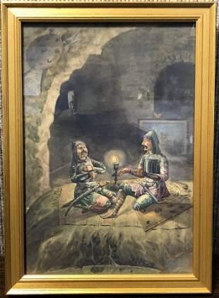 Watercolor,warriors in cave, sgd Persian, c.1930