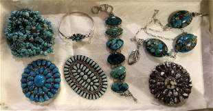 Silver and turquoise jewelry, Zuni styles