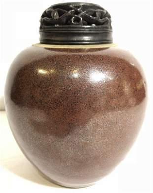 Chinese vase, wood lid, 19th century
