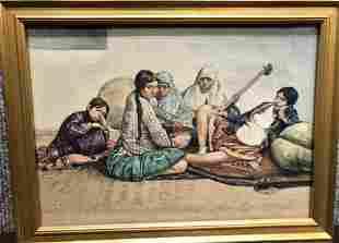 Persian watercolor, 5 women, c.1930,signed