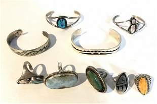 American Indian silver bracelets and rings