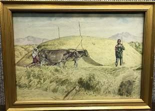 Persian watercolor, farmer ,cattle, c.1930, signed