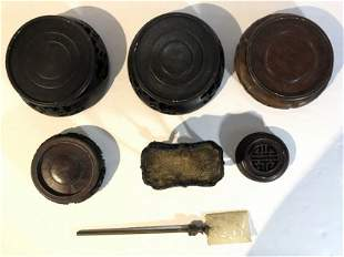 Chinese wood lids and other items