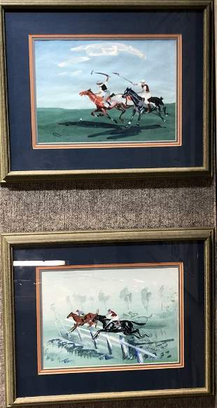 Two horse racing gouaches by J.Anthony Buzzelli