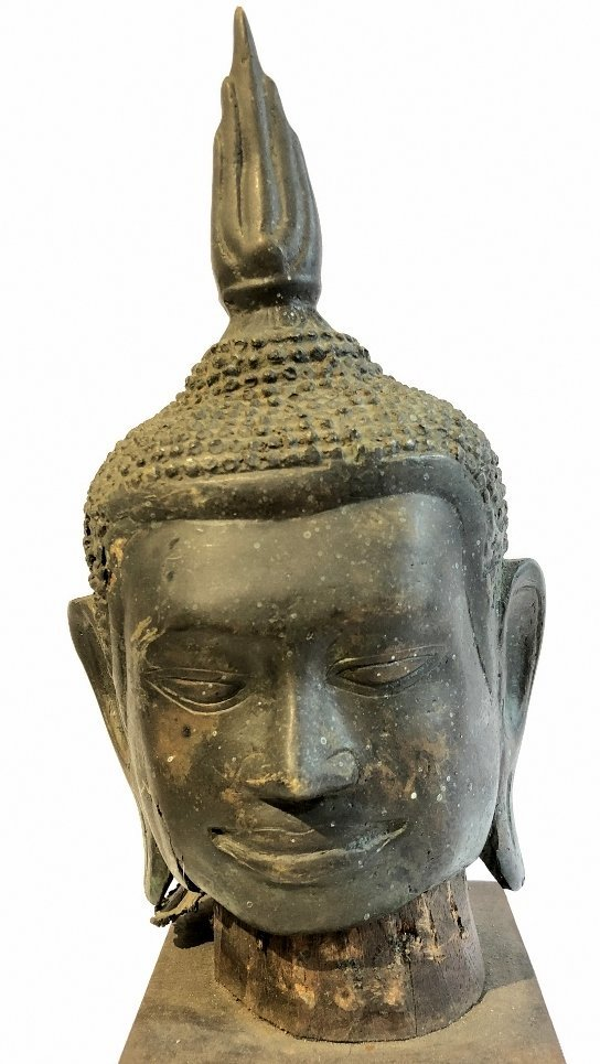 Thai bronze Buddha head, 19th century