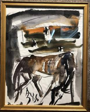 Horse watercolor by Anatoly Zverev-Ambassador