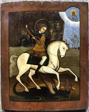Greek or Russian Icon, Saint George and Dragon, c1880