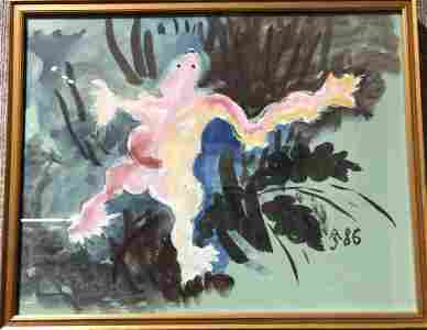 Ghostly figure, watercolor by Anatoly Zverev
