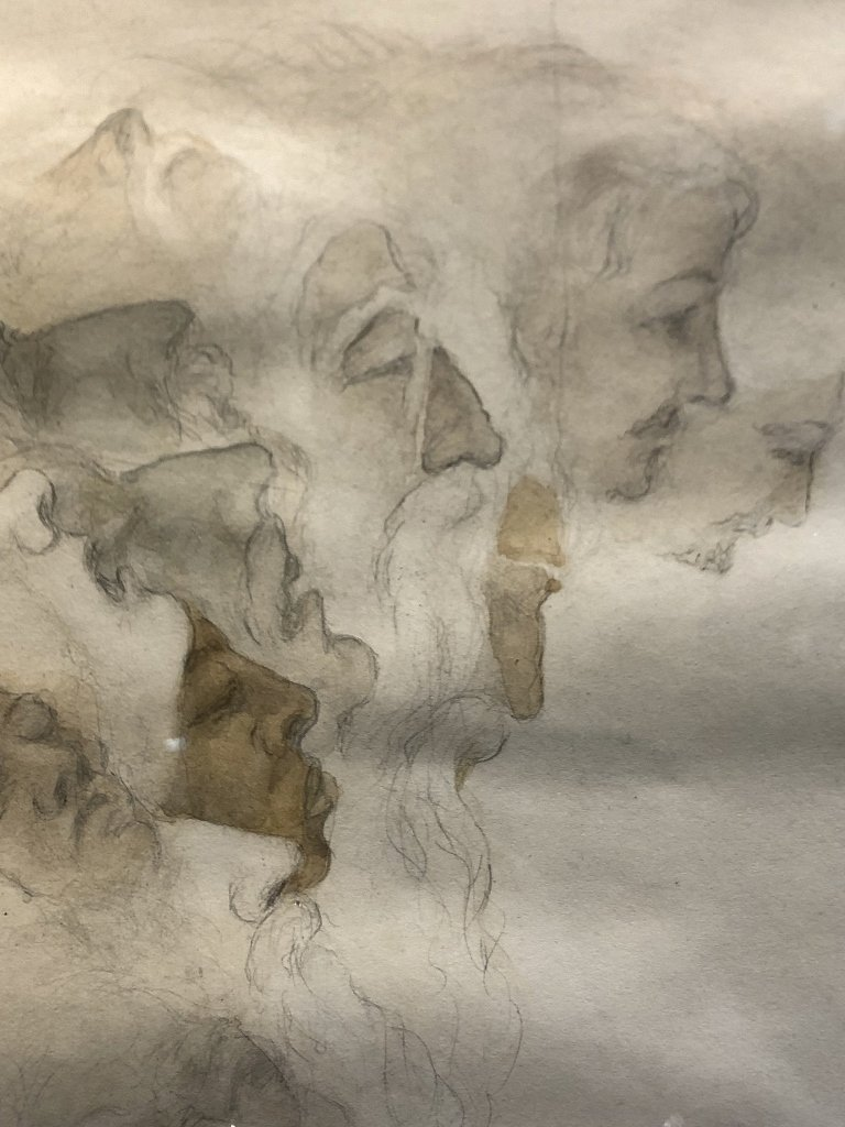 Drawing of faces by Dulla Jorab(?)Paris. - 4