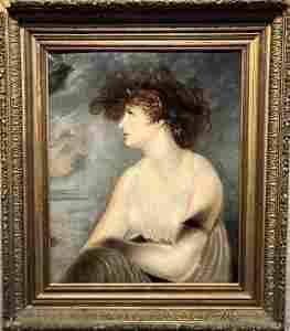 Large portrait of a lady, wild hairdo,c.1750