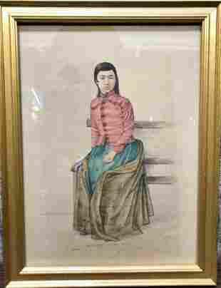 Persian watercolor of seated woman, c.1930
