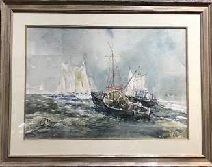Watercolor of ships by Xavier Gonzalez, c.1970