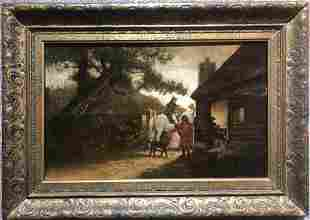 Painting on board of stables, style of Constable,c1900
