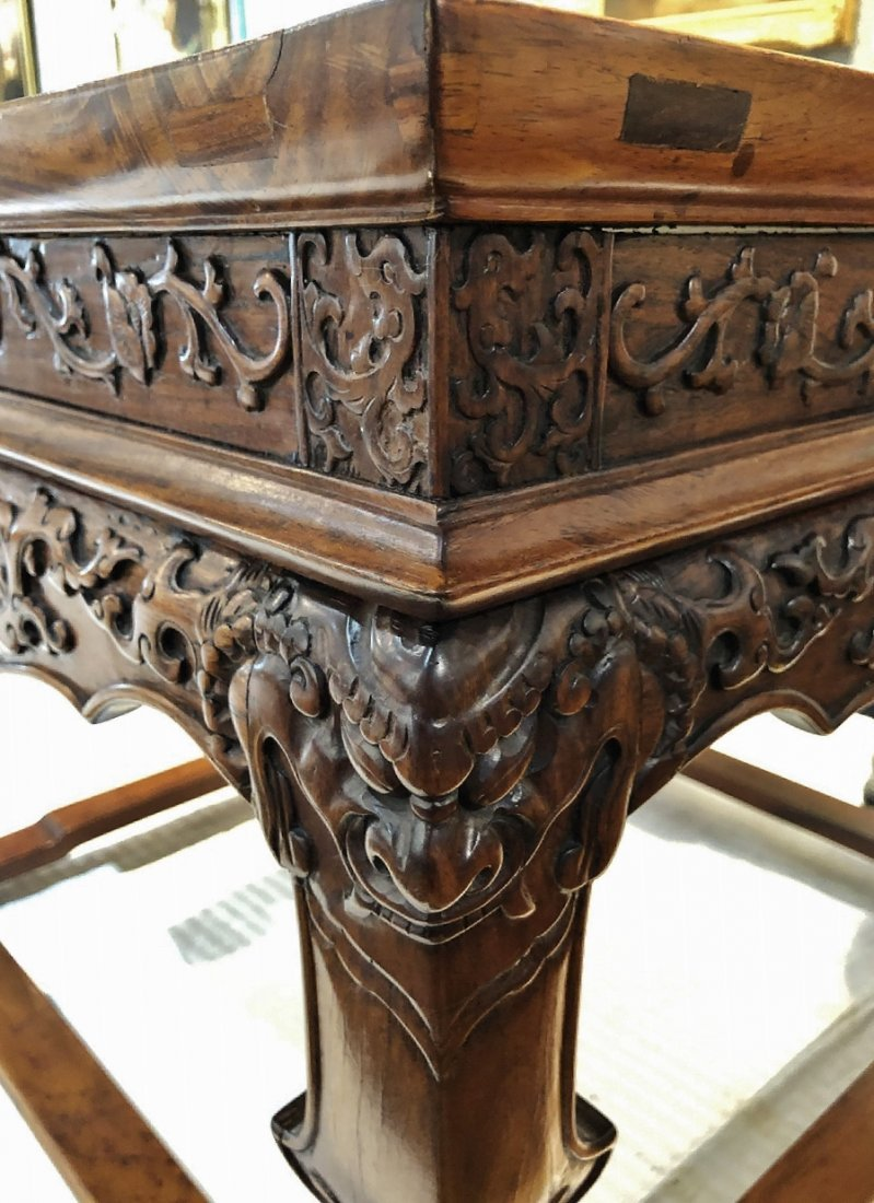Chinese carved table, Huanghuali wood, c.1945 - 4