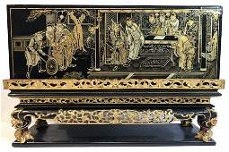 Chinese carved lacquer box and traysc1950 by Chen Kun