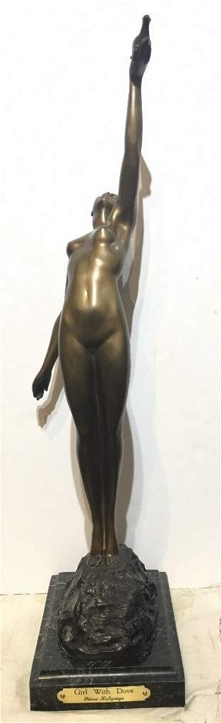 Bronze of girl with dove after Pierre Le Faguays