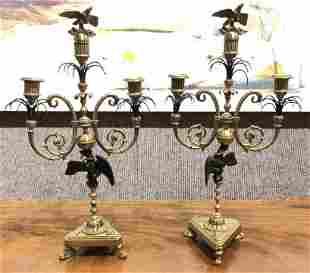 Pair of brass eagle candlesticksc1950