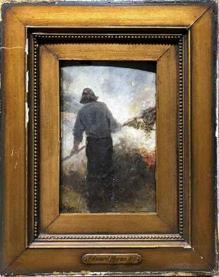 """Burning Leaves""painting by Edward Moran,c.1880"