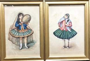 Two Persian watercolors, unsigned,undated,c.1930