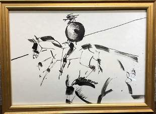 Watercolor by Anatoly Zverev of Don Quixote