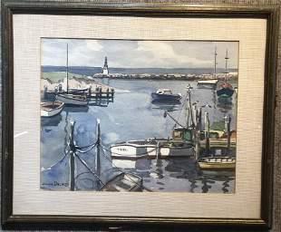 Watercolor of boats by Julius Delbos