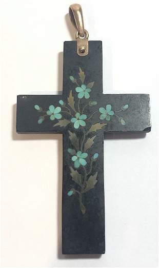 Inlaid turquoise and coral cross, gold bale,c.1890