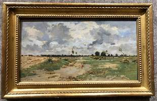 Painting French country landscape, Pierre E.Damoye,19th