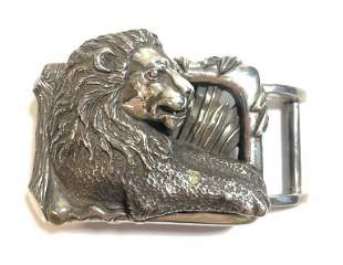 Kiselstein Cord sterling buckle with lion