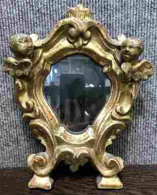 18th/19thc gilt wood mirror w/angels,mirror glass later