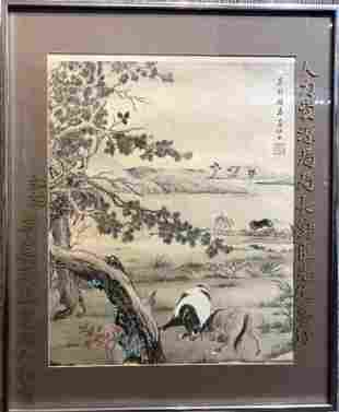 Chinese watercolor of horses by Dacheng FangGu