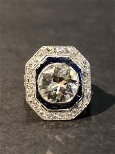 3.25ct GIA Diamond and sapphire ring, c.1920