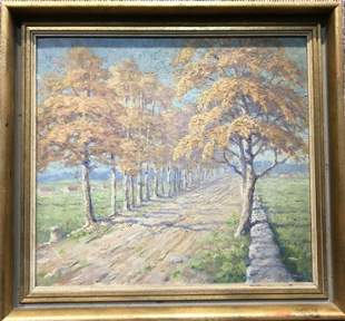 Painting of a country landscape, illegibly signed