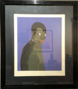 Josephine Baker silkscreen by Richard Ely (20th cen)