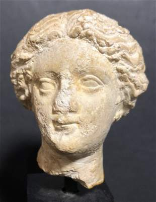 Greek stone head, Classical female, c.200 B.C.