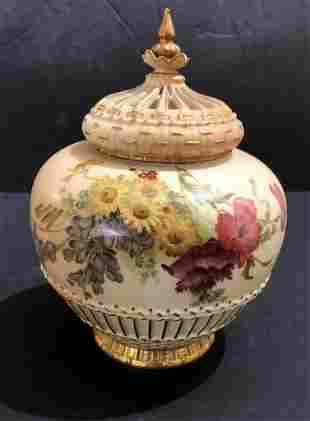 Royal Worcester covered jar,c.1880