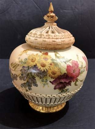 Royal Worcester covered jar,c.1880