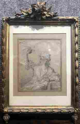 18th century drawing, boy with bird, unsigned
