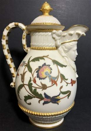 Royal Worcester pitcher with face, c.1880