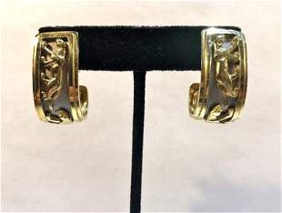 18k gold walking panther earrings,Italy.Circa 1975.